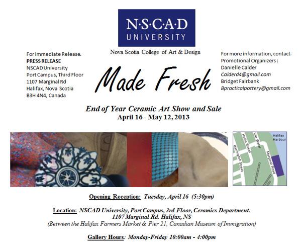 NSCAD Made Fresh Press Release, Internet