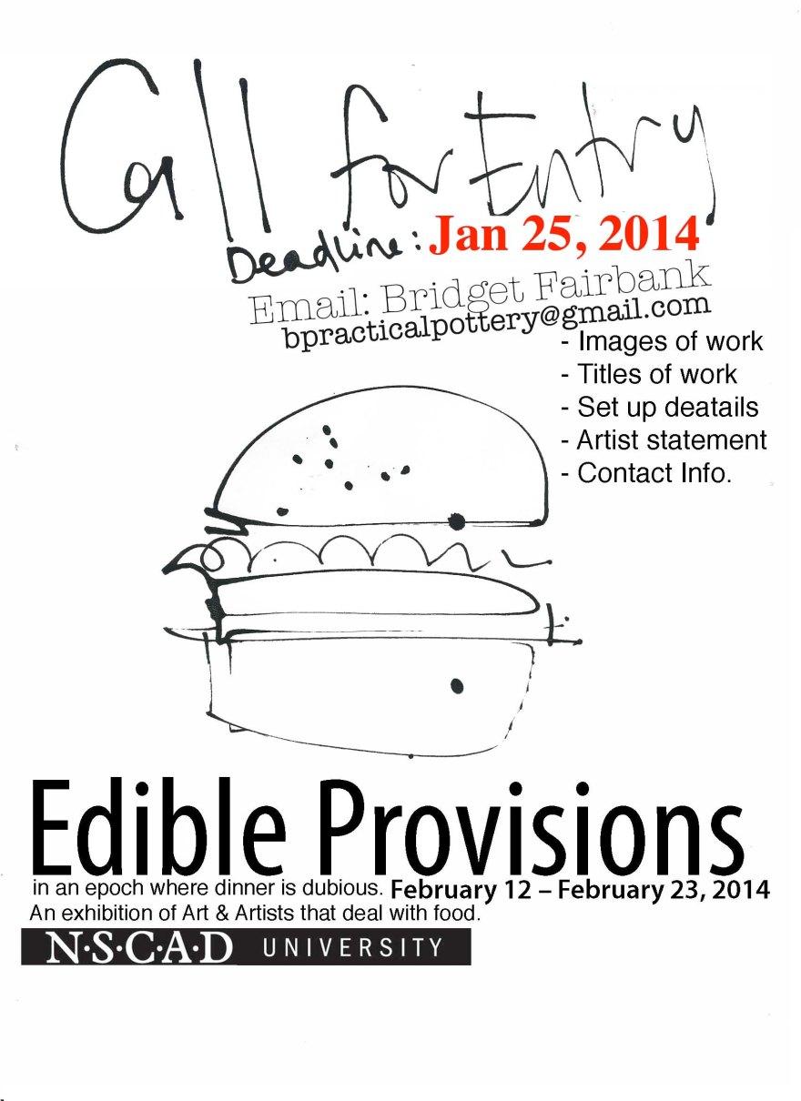Edible Provisons, Call for Entry, Hamburger NEW DEADLINE