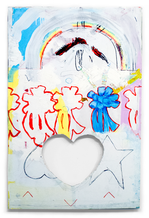 """Denzer, Cut-out the Damage and Grow-up, house paint, acrylic, paper, tape, pencil, vinyl spackle, on drywall, 48""""x26"""", 2014"""