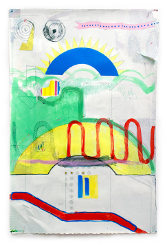 "Denzer, Target Just-because, acrylic, house paint, pencil, tape, on paper, 38""x25"", 2014,"