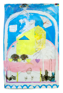 Denzer, Up Ground! Expose Your Roots!, acrylic, house paint, pencil, tape, on paper, 38%22x25%22, 2014