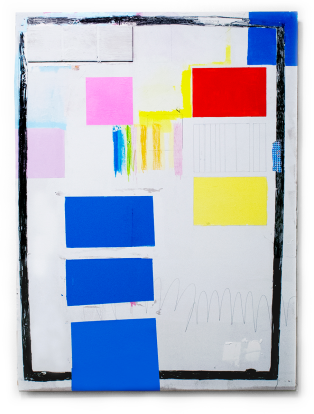 Denzer, Up-take, house paint, acrylic, paper, tape, pencil, vinyl spackle, plastic fruit bag netting, on drywall, 48%22x35%22, 2014