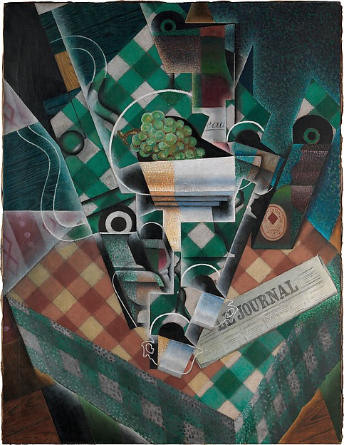Gris,Still Life with Checked Tablecloth