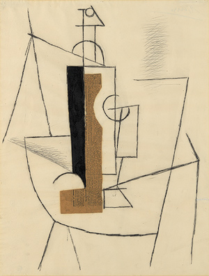 Picasso, Bottle and, Wine Glass on a Table, 1912