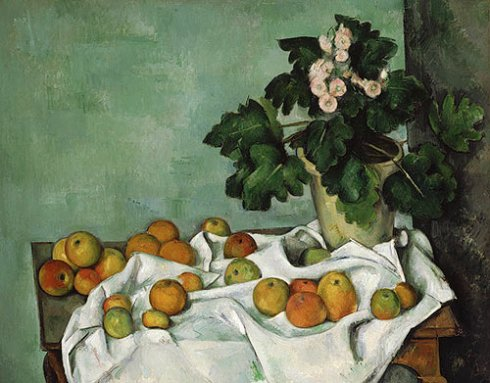 Still Life with Cezanne, Apples and a Pot of Primroses